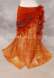 SELKET Lace and Ribbon Shawl - Burnt Orange and Gold