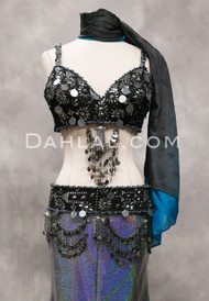 Assuit Tribaret Bra and Belt Set, Style II, for Custom Order - Black with Silver