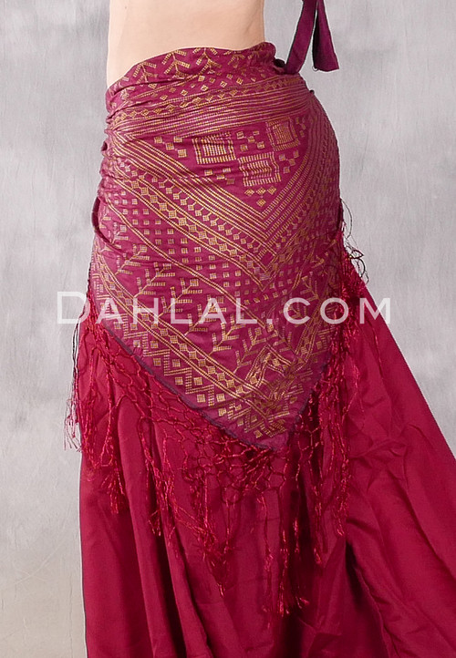 Faux Assuit Hip Shawl - Wine with Gold or Silver