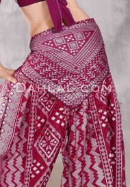 Faux Assuit Hip Shawl- Wine with Silver