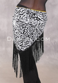 GEMINI I Sequin & Fringe Hip Shawl - Black
