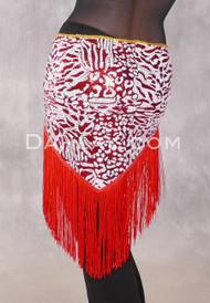 GEMINI I Sequin & Fringe Hip Shawl - Red