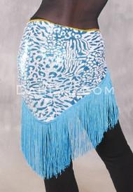 GEMINI I Sequin & Fringe Hip Shawl - Turquoise