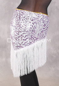 GEMINI I Sequin & Fringe Hip Shawl - Lavender