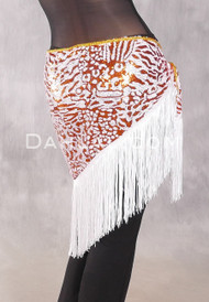 GEMINI I Sequin & Fringe Hip Shawl - Orange