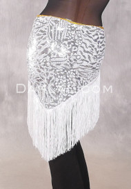 GEMINI I Sequin & Fringe Hip Shawl - Silver
