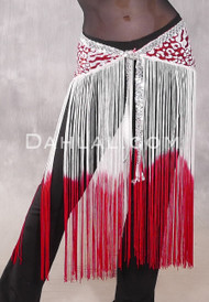GEMINI II Sequin & Fringe Hip Skirt - Red