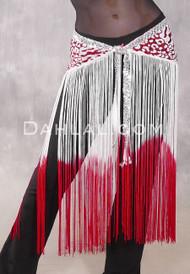 GEMINI II Sequin & Fringe Hip Skirt - Red