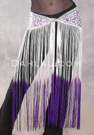 GEMINI II Sequin & Fringe Hip Skirt - Lavender and Purple