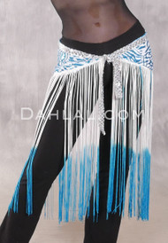 GEMINI II Sequin & Fringe Hip Skirt - Turquoise