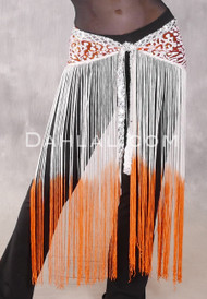 GEMINI II Sequin & Fringe Hip Skirt - Orange