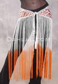 GEMINI II Sequin & Fringe Hip Skirt - Orange