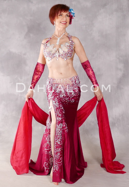 Crystalline Rose' Egyptian Costume - Wine, Nude and Silver