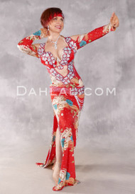 IN BLOOM Egyptian Dress - Red, Silver and Multi-color