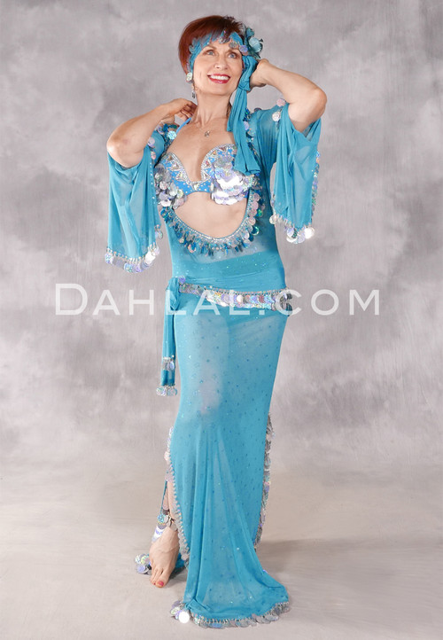 Egyptian Paillette Dress - Turquoise and Silver