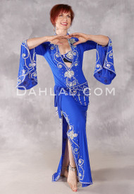 Egyptian Beledi Dress - Royal Blue and Silver
