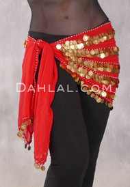 Five Row Coin Scarf in Red with Gold