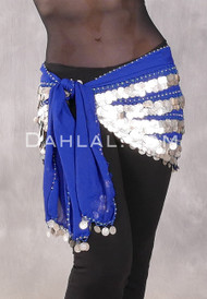 Five Row Egyptian Coin Scarf in Royal Blue