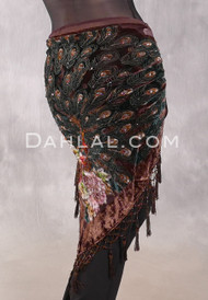 MYSTIC MOONLIGHT Burnout Velvet Beaded Peacock Shawl -Chocolate
