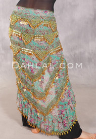 EGYPTIAN LONG RUFFLE SKIRT HIP SCARF- Mint, Red and Gold Floral