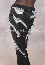 Multi-Row Chevron Bead and Coin Hip Shawl - Black and Silver
