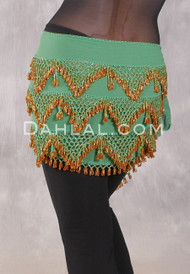 Three Row Beaded Egyptian Hip Scarf - Green and Gold