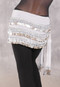 Three Row Egyptian Coin Teardrop Hip Scarf - White and Silver