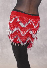 Multi-Row Bead And Nefertiti Coin Hip Scarf - Red and Silver
