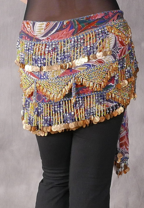 Fringe Coin Beaded Egyptian Hip Scarf - Floral, Gold and Blue