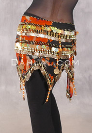 Egyptian Teardrop Wave With Coins & Paillettes Hip Scarf - Black Floral with Gold