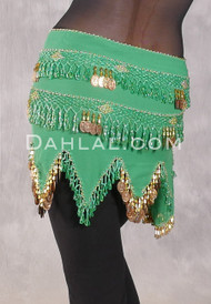 Teardrop Fringe Wave Egyptian Hip Scarf - Green and Gold