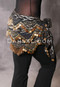 Crocheted Bead Coin Hip Scarf - Black and Gold