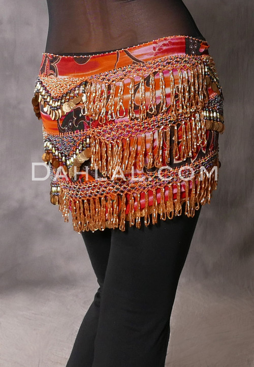Crocheted Bead Coin Egyptian Hip Scarf - Paisley Floral with Gold