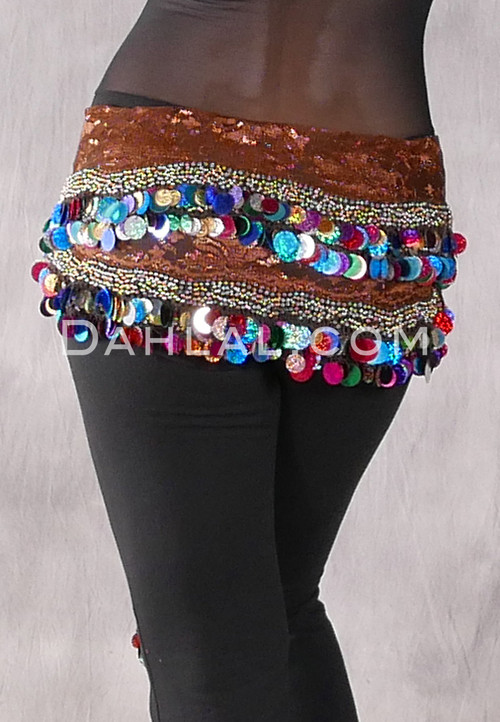 Two Layer Multi-color Paillette and Coin Egyptian Hip Scarf - Chocolate and Gold