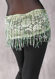 Egyptian Lace Fringe Hip Wrap - Mint with Green and Silver