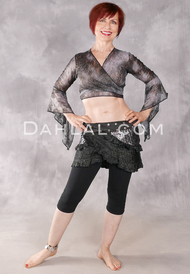 Samira Antique Lace Wrap Top - Gilded Smoke