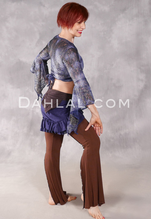 Samira Antique Lace Wrap Top - Gilded Midnight Blue