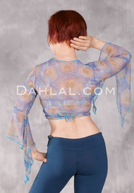 Samira Printed Wrap Top - Blue Peacock