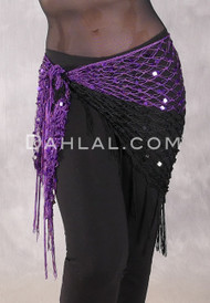 Two Tone Glitter Sequin Wrap- Purple & Black