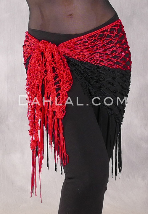 Two Tone Glitter Sequin Wrap- Red & Black