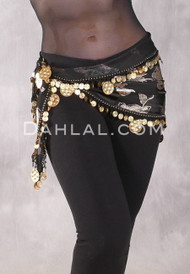 Single Row Egyptian Coin Hip Scarf with Multi-size Coins - Black and Gold