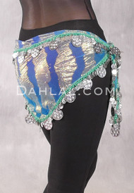 Single Row Egyptian Coin Hip Scarf with Multi-size Coins - Gradient Blue and Gold Animal Print with Silver