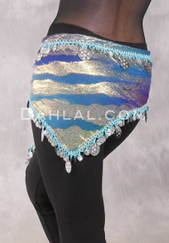 Single Row Egyptian Coin Hip Scarf with Multi-size Coins - Gradient Blue and Gold Animal Print with Silver II
