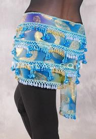 Dynasty VII Beaded 3-Row Egyptian Hip Scarf - Teal and Blue