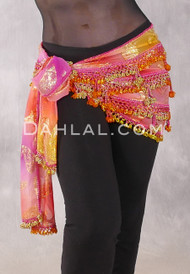 Dynasty VII Beaded 3-Row Egyptian Hip Scarf- Hot Pink, Goldenrod and Magenta