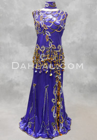 Dreams of Araby Egyptian Beaded Dress - Purple with Gold, Black and Silver, Size 2XL-3XL