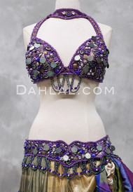 Purple Assuit Tribaret Bra and Belt Set