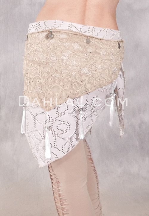 Forever Lace Fold Over Hip Wrap - Tan and Cream