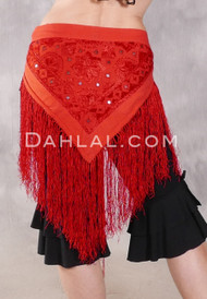 Embroidered Cotton Fringe Hip Scarf with Mirrors - Red