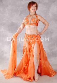 GRAND GALA Egyptian Costume by Eman Zaki - Orange and Gold